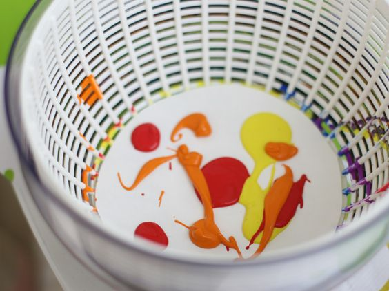 Salad spinner art tutorial. Another contained mess art project for the kiddos.