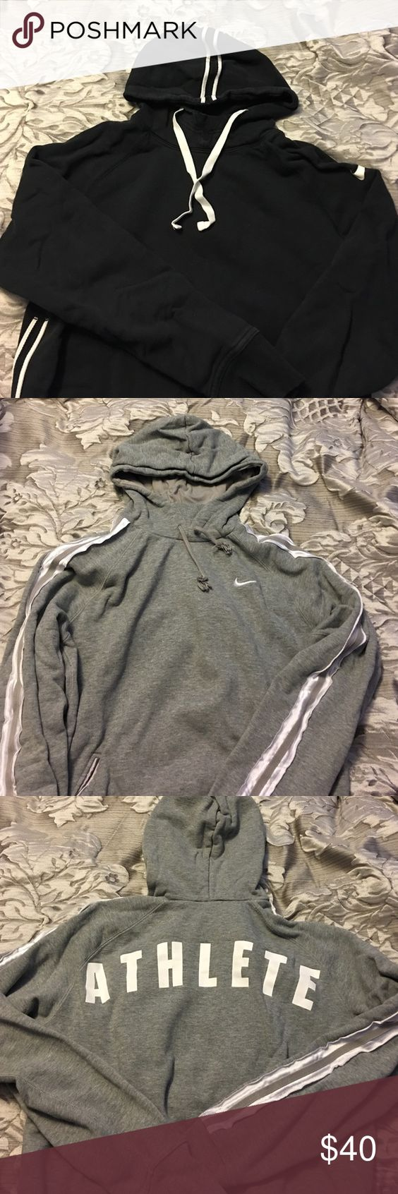 2 Ladies Hoodies - Gently Worn - Size Medium Gently worn in good condition - both have vent holes under arms and piping accents on sleeves. Great workout pieces. Nike Tops Sweatshirts & Hoodies