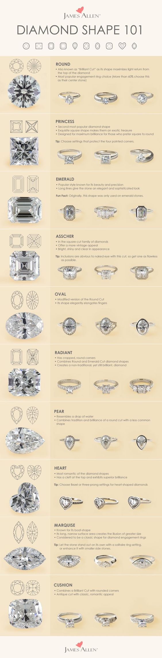 A shape for each type of engagement ring. Each diamond shape possesses its own unique qualities. James Allen offers the highest quality certified conflict-free diamonds to satisfy all tastes.   Browse these diamond shapes in 360° HD on http://jamesallen.com. #Jamesallenrings