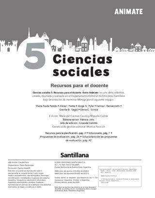 Animate Ciencias Sociales 5  Orientaciones Didácticas para el uso del libro.
