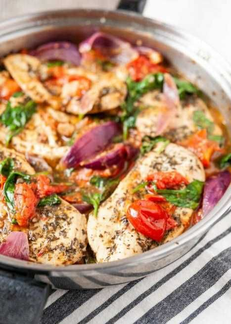 Italian Skillet Chicken with Spinach, Tomatoes, and Onions