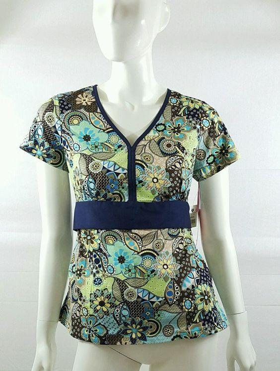 Koi by Kathy Peterson Multi Colored Floral V Neck Scrub Top Women's Size XS | eBay