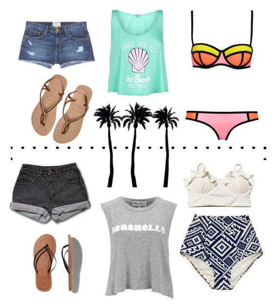 """Take Me To The Beach"" by blissfully-makena ❤ liked on Polyvore featuring Havaianas, Wildfox, Current/Elliott, WithChic, PèPè, Abercrombie & Fitch and Dot & Bo"