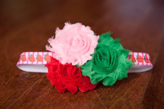 Strawberry themed headband pink red and green by QuinnRose on Etsy, $7.00