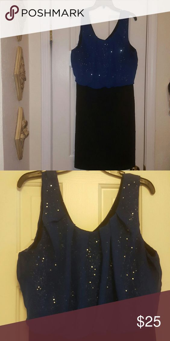 Blue and black sequin party dress Sequined top with sheer blue overlay with a black skirt Maurices Dresses Midi