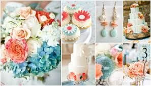 Coral and light blue wedding