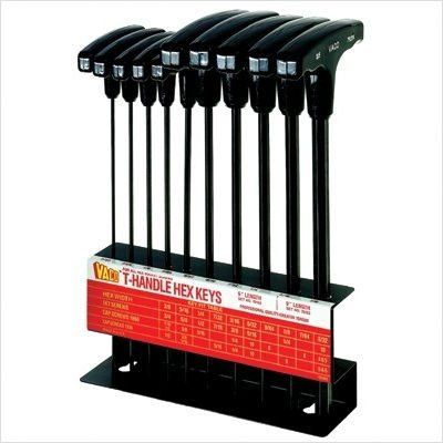 Klein Tools 70153 10-Piece Inch T-Handle Hex-Key Set with Stand