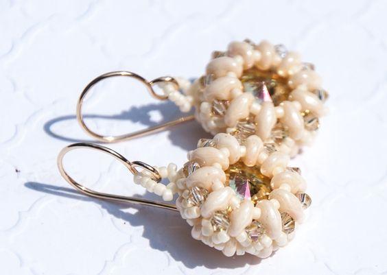Luminous Green Beaded Crystal Earrings, 14k gold filled, Bead Weaving, Boho Chic, Swarovski Crystal, Bridal, Ivory, White, Weddings by seedbeadsofchange on Etsy
