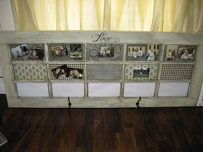 old door turned message center, diy, repurposing upcycling, Door with scrapbook paper pictures and hooks added