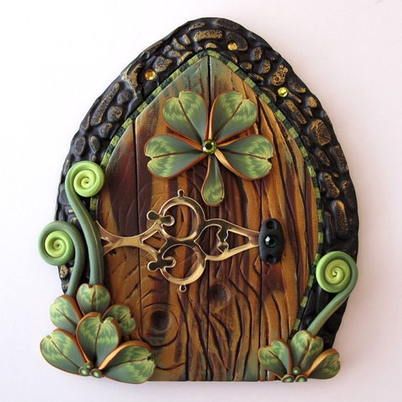 Shamrock fairy door pixie portal polymers doors and for Irish fairy door ideas