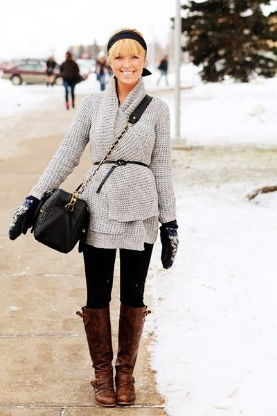 Big sweaters with leggings and boots.