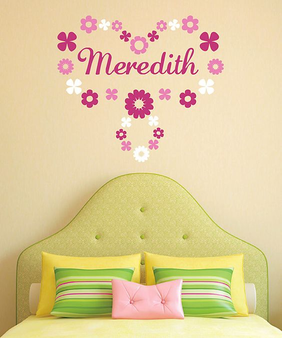 Loving this Soft Pink & White Flower Ring Personalized Wall Decal on #zulily! #zulilyfinds