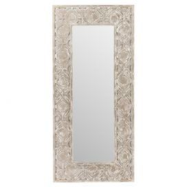 "Showcasing a quatrefoil frame in a weathered pewter finish, this statement-making wall mirror adds a glamorous touch in your master suite or entryway.  Product: Wall mirrorConstruction Material: Engineered wood and mirrored glassColor: Weathered pewter frameFeatures:  D rings for easy hangingQuatrefoil frameDimensions: 75.5"" H x 35"" W x 2.75"" D"