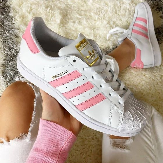 Adidas Superstar Pink And White With Images Adidas Superstar