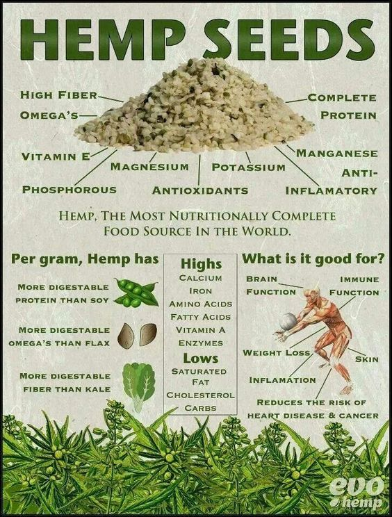 Hemp seeds are one of the most nutritionally complete foods in the world. This infographic explains why and what it is good for...:
