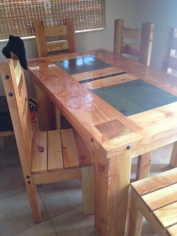 mesa de pino oregón  con aplicacion de piedra pizarra ultra firme
