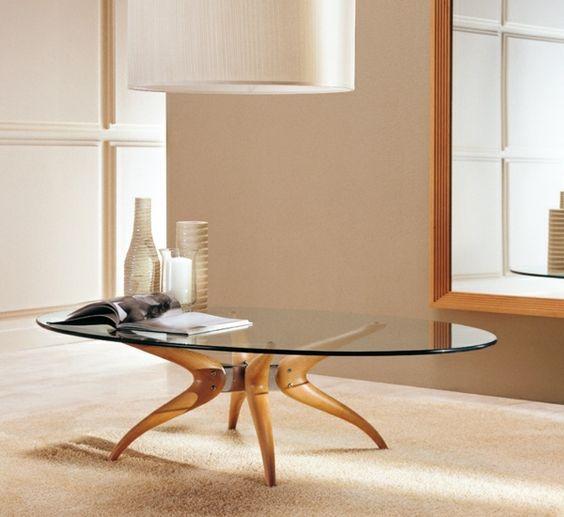 Ovaler Couchtisch Glas Modernes Wohnzimmer Design