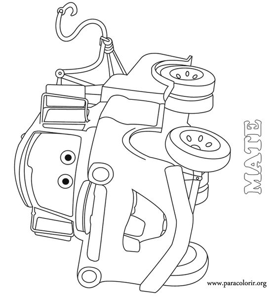 cars coloring pages truck mater in the street