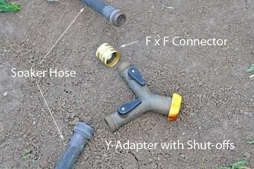 Y-Adapter to attach to soaker hose