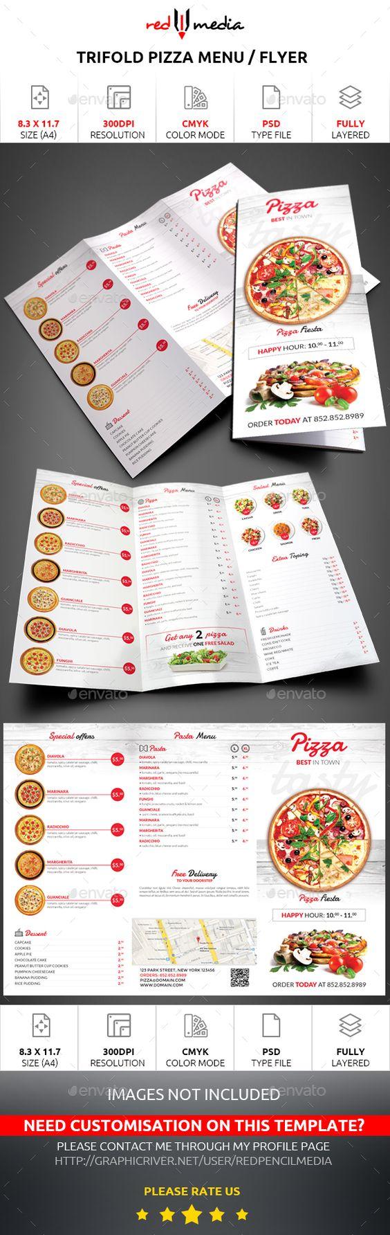 #Trifold #Pizza Menu / Flyer - #Restaurant #Flyers Download here: https://graphicriver.net/item/trifold-pizza-menu-flyer/15763178?ref=artgallery8