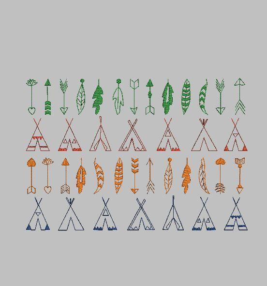 Grand motif de broderie machinereprésentant une série deflèches, tipiset plumesen redwork, point triple. 3tailles : 10x10, 13×18 et 20x30