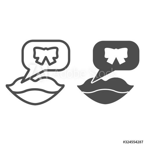 Lips Congratulation Dialog Line And Solid Icon Smiling Woman Mouth With Speech Bubble And Bow Party Vector Design Con In 2020 With Images Poster Design Abstract Design Pictogram