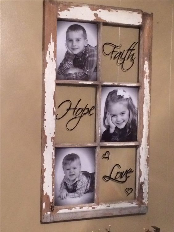 On the panes opposite the picture do: their initial big and then decorate scrapbook-style with descriptive words,  or Chalkboard paint and change what it there often.