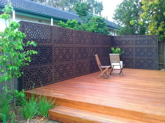 Decks decking and laser cut metal on pinterest for Metal privacy screens for decks