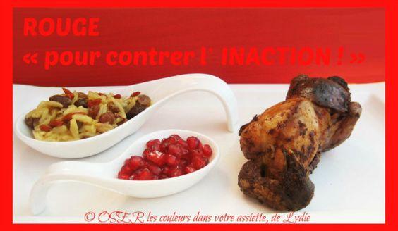 Caille farcie à la pomme rouge et cannelle, pâtes « avoine » comme un risotto aux raisins secs et baies de Goji