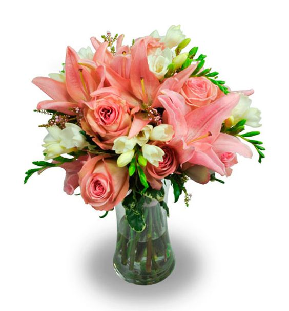 Bridal Bouquet- Clutch Style- Pink and White flowers. Utah wedding flowers.