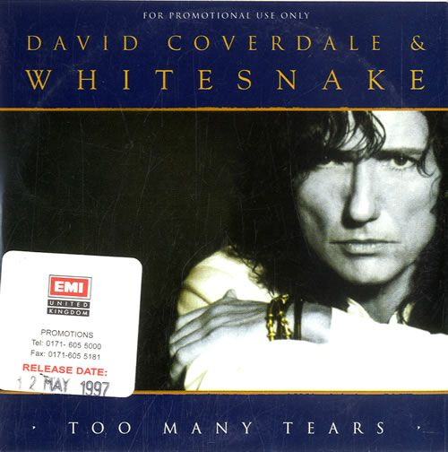 """For Sale - David Coverdale Too Many Tears UK Promo  CD single (CD5 / 5"""") - See this and 250,000 other rare & vintage vinyl records, singles, LPs & CDs at http://eil.com"""