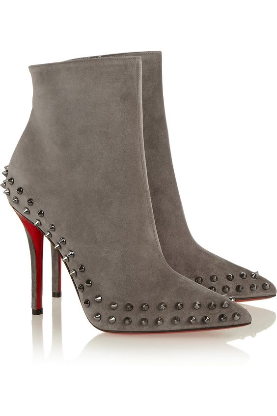christian louboutin suede mid block-heel ankle boots