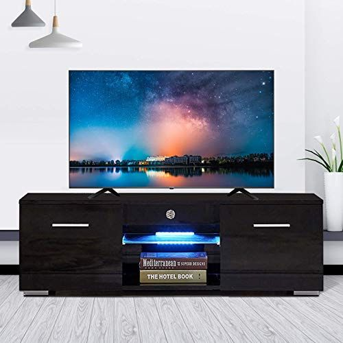 New Mecor Modern Black Tv Stand For 50 In Tv High Gloss Tv Stand With Led Lights Console Storage Cabinet Wi Modern Tv Stand Modern Tv Tv Stand With Led Lights
