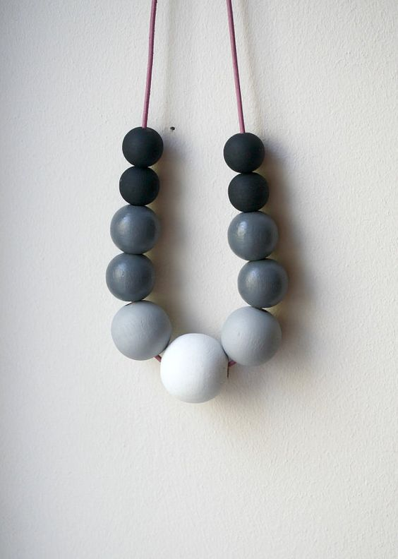 Ombre Wooden Beads Necklace with the great name Foggy Morning, from UnderlingDesign $ 38: