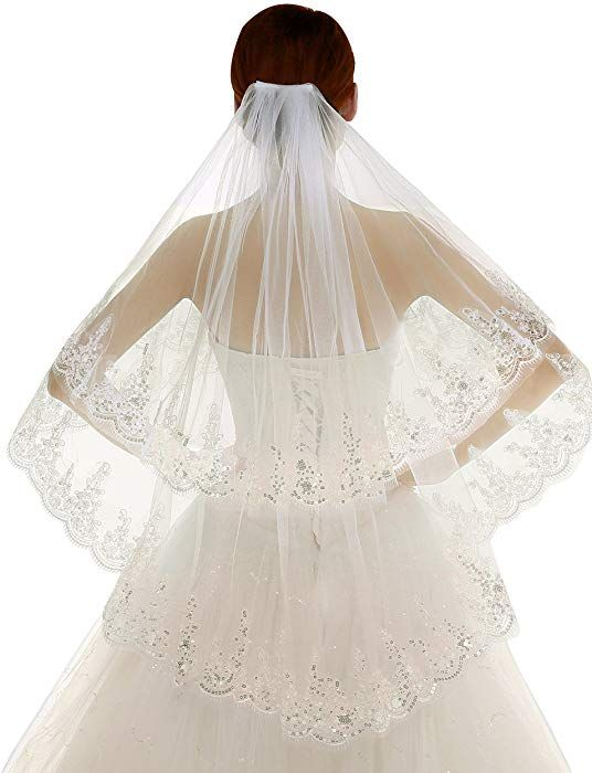Womens One Tier Ivory and White Elbow Length Lace Applique Edge Tulle Bridal Wedding Veil