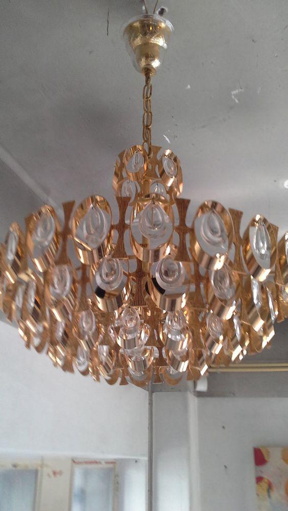 Sciolari Lobmeyr Gold Plated Brass Crystal Chandelier 1960