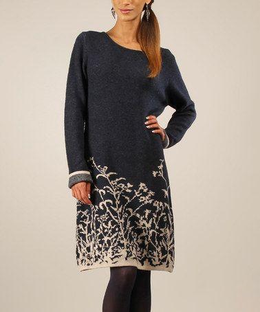 Look what I found on #zulily! Navy & Beige Floral Wool-Blend Sweater Dress #zulilyfinds