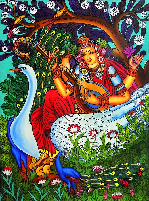 Mural painting in acrylic of goddess saraswathi painting for Acrylic mural painting techniques