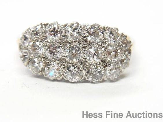 Awesome 1920s Antique Platinum 14k Gold 1.50ctw Old Euro Diamond Dome Ring #Cluster