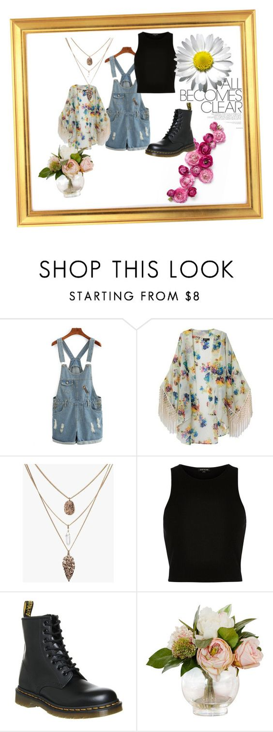 """Overalls and Floral"" by boobear5730 ❤ liked on Polyvore featuring River Island and Dr. Martens"
