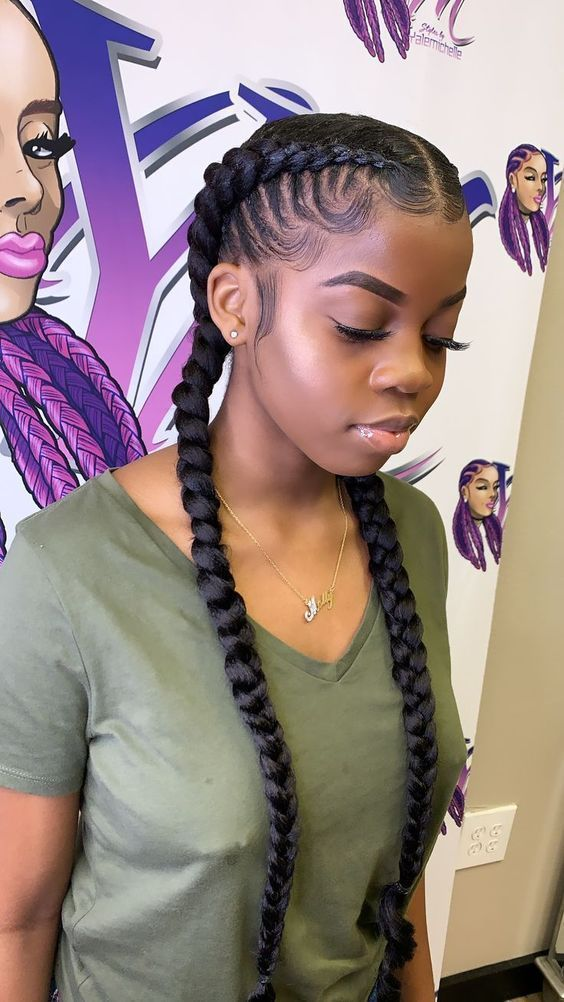 Pin On Vintage Two Braid Hairstyles Cornrow Hairstyles Braids With Weave Cornrows in front box braids in the back. cornrow hairstyles