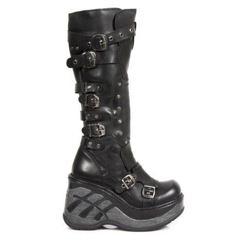 Bottes Hautes Neo Cuña Sport Noires à Boucles M.SP9831-C1