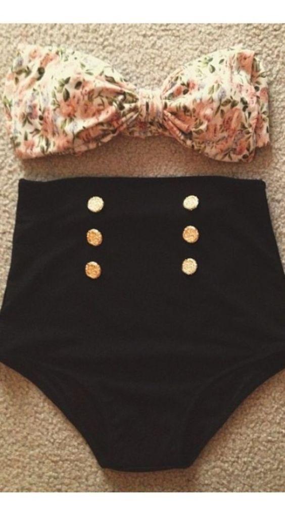 Swimwear: high waisted bikini bandeau bandeau bikini floral vintage hipster nail polish floral