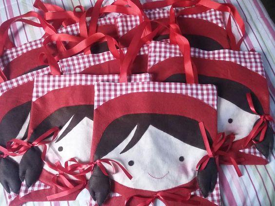 Bolsa de feltro chapeuzinho vermelho