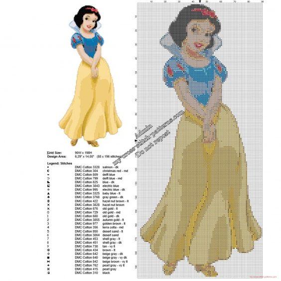 Disney Blanche-Neige grille point de croix gratuite 88 x 196 29 couleurs DMC