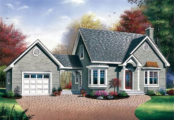 Bungalow cape cod house plan 65285 pinterest house for Cape cod house plans with attached garage