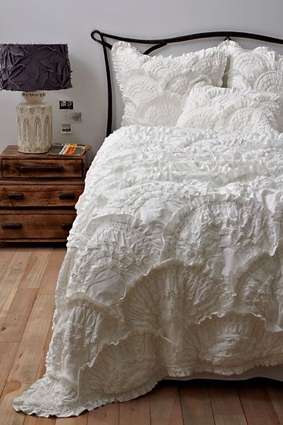 Rivulets Bedding, Cream #anthropologie  yummy white bed linens
