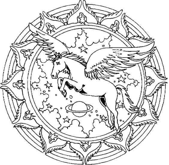 coloring pages unicorns | Unicorn Pegasus Mandala Coloring Pages ...