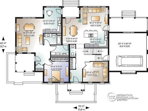 Multi generational house plan floor plans Pinterest House
