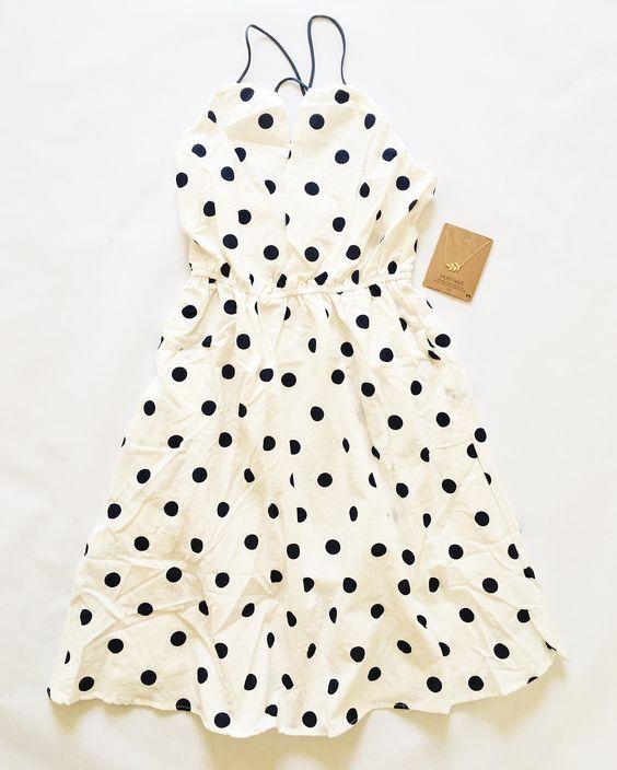 Navy Polka dot print dress